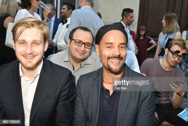 Lyric singer Fabrice di Falco and 2nd rank Fashion designer Georges Bedran attend the Ken Okada Street Show as part of Saint Germin des Pres Annual...