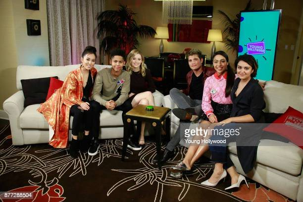 Lyrica Okano Rhenzy Feliz Virginia Gardner Gregg Sulkin Allegra Acosta and Ariela Barer from Marvel's Runaways visits the Young Hollywood Studio on...