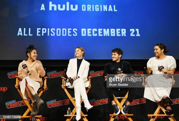 Lyrica Okano Virginia Gardner Gregg Sulkin and Ariela Barer speak onstage during Hulu's 'Runaways' panel at 2018 New York Comic Con at The Theater at...