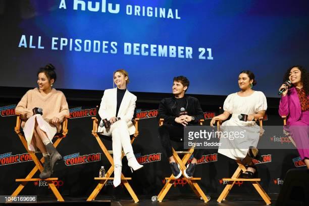 Lyrica Okano Virginia Gardner Gregg Sulkin Ariela Barer and Allegra Acosta speak onstage during Hulu's 'Runaways' panel at 2018 New York Comic Con at...