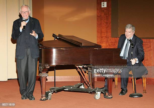 Lyricist Alan Bergman and composer Marvin Hamlisch perform during a Society of Composers Lyricists/ASCAP QA prior to a screening of The Informant at...