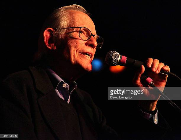 Lyricist Alan Bergman performs on stage at ASCAP's reception honoring Marvin Hamlisch Bergman and his wife Marilyn Bergman at the Catalina Bar Grill...