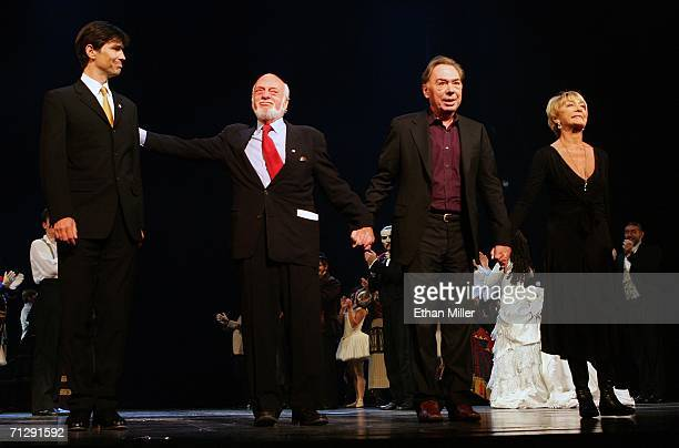 Lyricist Charles Hart director Harold Prince Lord Andrew Lloyd Webber and choreographer Gillian Lynne take a curtain call following the opening night...