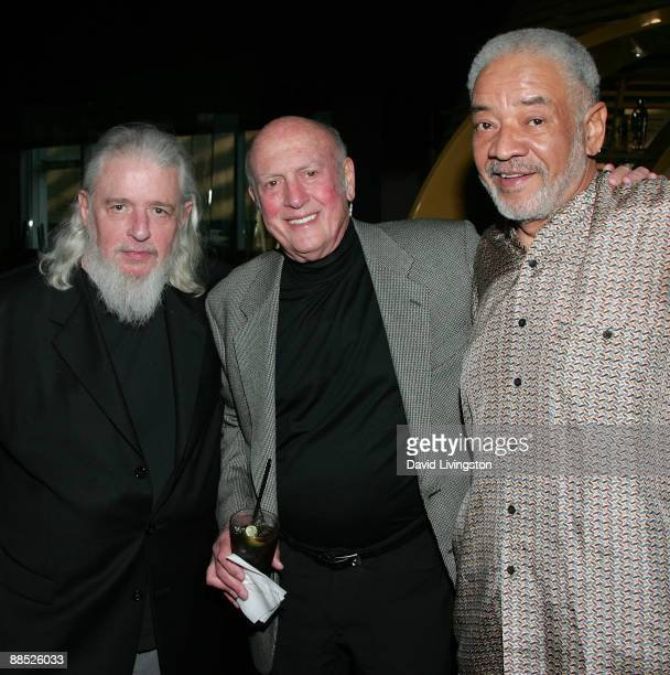 Lyricist Gerry Goffin songwriter Mike Stoller and recording artist Bill Withers attend a launch party for the book Hound Dog at The Conga Room at LA...