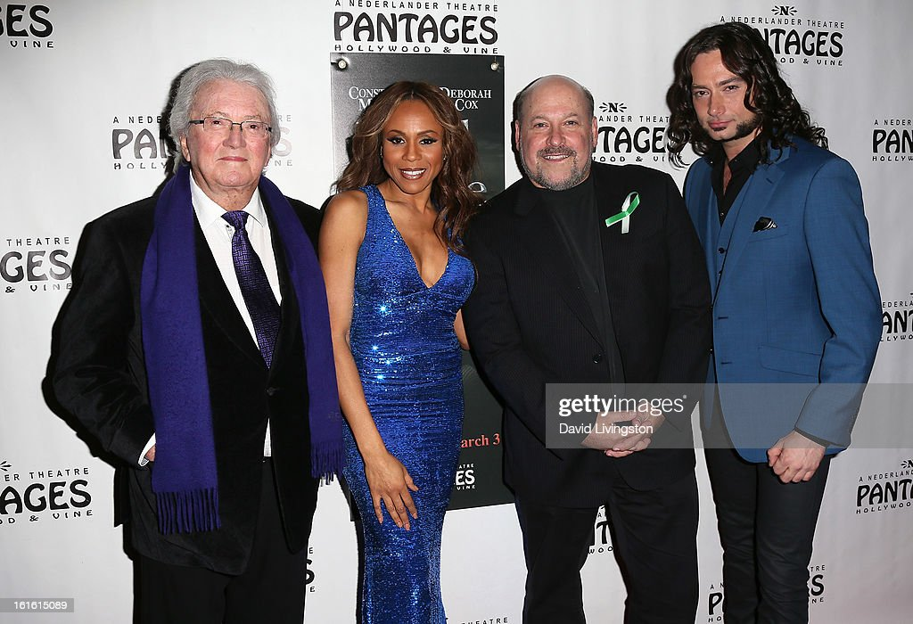 Lyricist Leslie Bricusse, singer/cast member Deborah Cox, composer Frank Wildhorn and actor/cast member Constantine Maroulis pose at the opening night of 'Jekyll & Hyde' at the Pantages Theatre on February 12, 2013 in Hollywood, California.