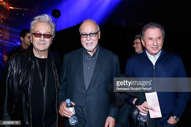 Lyricist Luc Plamondon Rene Angelil and TV and Radio animator Michel Drucker attending Celine Dion's Concert at Palais Omnisports de Bercy on...