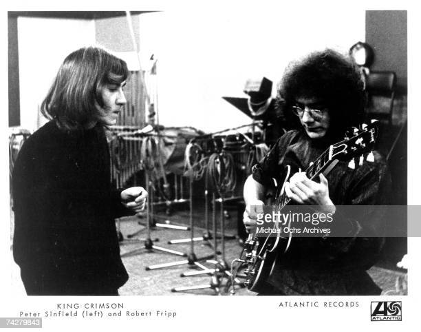 Lyricist Peter Sinfield and guitarist Robert Fripp of the first lineup of the English rock band King Crimson record in the studio in 1969