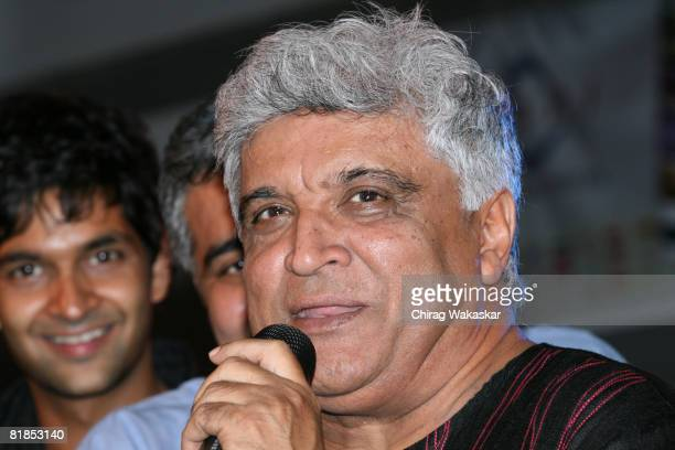 Lyricist Poet Javed Akhtar speaks at the Rock On music launch held at Infinity Mall on July 7 2008 in Mumbai formerly Bombay India