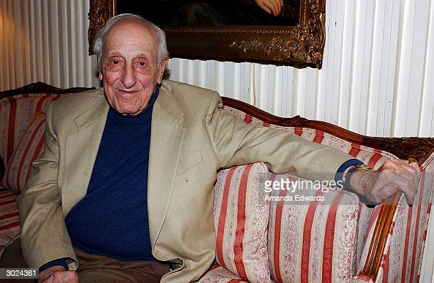 Lyricist Ray Evans attends the champagne reception honoring the Academy Award Music Nominees on February 28 2004 at the home of Bonnie and John...
