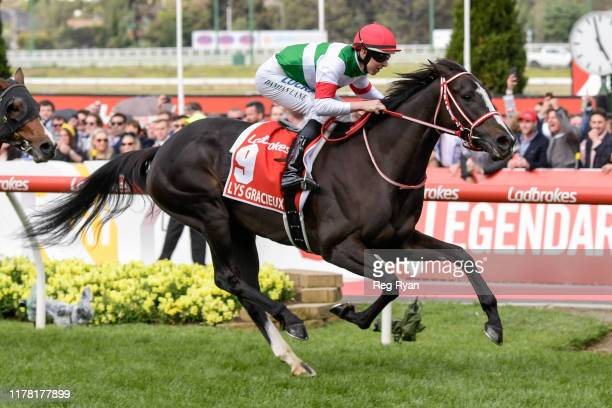 Lys Gracieux ridden by Damian Lane wins the Ladbrokes Cox Plate at Moonee Valley Racecourse on October 26 2019 in Moonee Ponds Australia