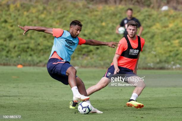 Lys Mousset and Jack Simpson of Bournemouth during preseason training on July 19 2018 in La Manga Spain