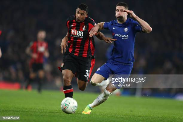 Lys Mousset of AFC Bournemouth and Gary Cahill of Chelsea during the Carabao Cup QuarterFinal match between Chelsea and AFC Bournemouth at Stamford...
