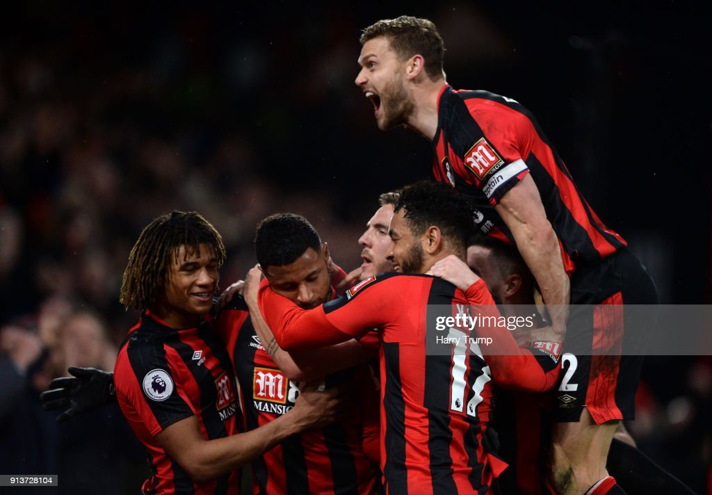 Lys Mousset of AFC Bournemouth celebrates scoring his side's second goal with team mates during the Premier League match between AFC Bournemouth and Stoke City at Vitality Stadium on February 3, 2018 in Bournemouth, England.
