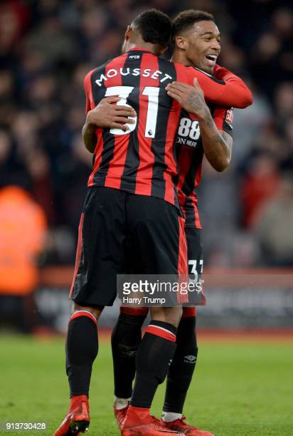 Lys Mousset of AFC Bournemouth celebrates scoring his side's second goal with Jordon Ibe during the Premier League match between AFC Bournemouth and...