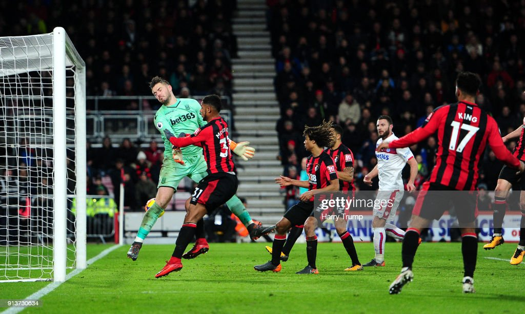 Lys Mousset of AFC Bournemouth scores his side's second goal during the Premier League match between AFC Bournemouth and Stoke City at Vitality Stadium on February 3, 2018 in Bournemouth, England.