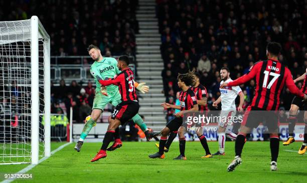 Lys Mousset of AFC Bournemouth scores his side's second goal during the Premier League match between AFC Bournemouth and Stoke City at Vitality...