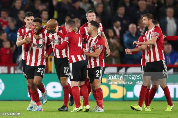 Lys Mousset of Sheffield United celebrates after scoring a goal to make it 10 during the Premier League match between Sheffield United and Arsenal FC...