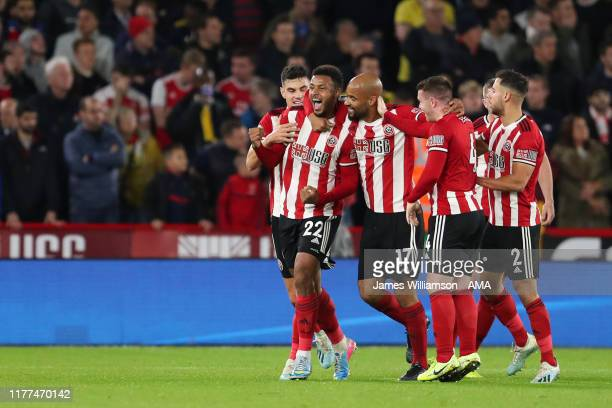 Lys Mousset of Sheffield United celebrates after scoring a goal to make it 1-0 during the Premier League match between Sheffield United and Arsenal...