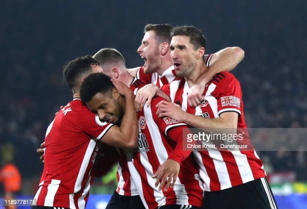 Lys Mousset of Sheffield United celebrates scoring his teams second goal during the Premier League match between Sheffield United and Manchester...