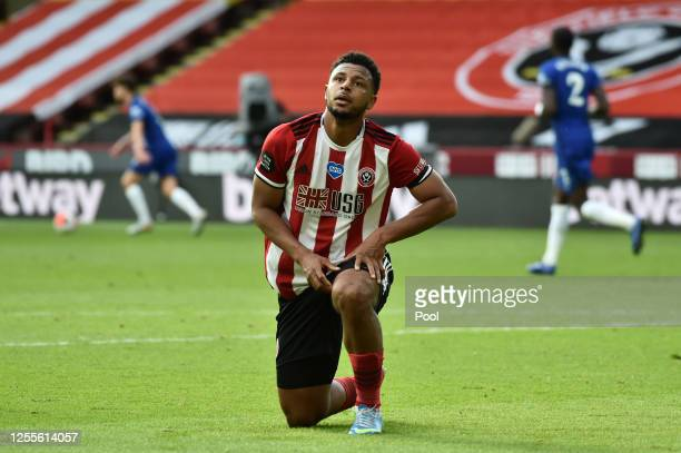 Lys Mousset of Sheffield United reacts following a missed chance during the Premier League match between Sheffield United and Chelsea FC at Bramall...