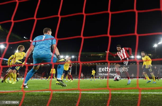 Lys Mousset of Sheffield United scores his sides 1st goal during the Premier League match between Sheffield United and Arsenal FC at Bramall Lane on...