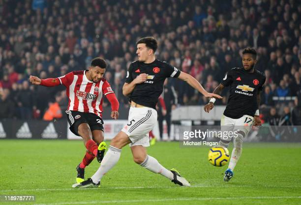 Lys Mousset of Sheffield United scores his sides second goal during the Premier League match between Sheffield United and Manchester United at...