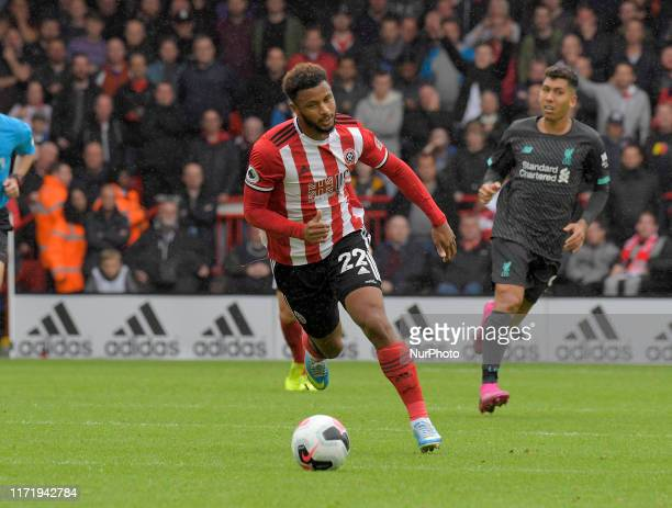 Lys Mousset on the attack at the English Premier League Match between Sheffield United and Liverpool at the Bramall Lane Ground Sheffield on...