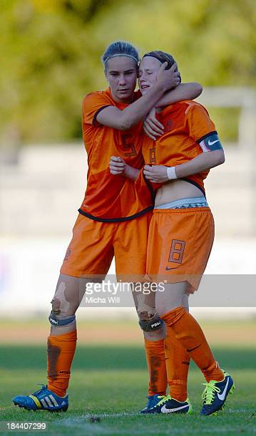 Lysanne Van der Wal and Michelle Hendriks of Netherlands react after the U17 Girls Euro Qualifier match between Germany and Netherlands at...