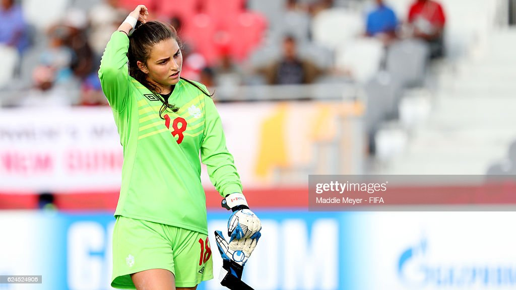 Lysine Proulx #18 of Canada reacts at the end of the first half of the Group B match in the FIFA U-20 Women's World Cup Papua New Guinea against Canada on November 20, 2016 at National Football Stadium in Port Moresby, Papua New Guinea.