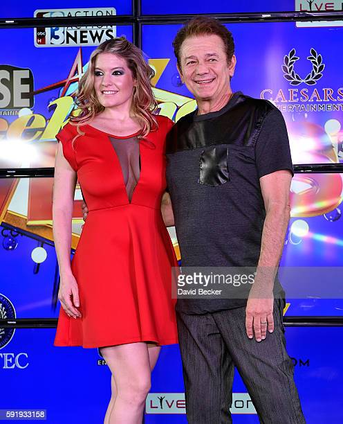 Lyssa Lynne and actor Adrian Zmed attend the launch of The Weekend in Vegas live entertainment and news program at The Linq Promenade on August 18...