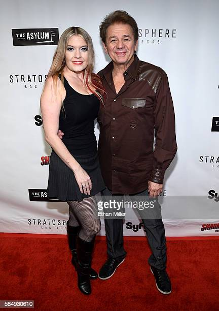 Lyssa Lynne and actor Adrian Zmed attend the premiere of Syfy's Sharknado The 4th Awakens at the Stratosphere Casino Hotel on July 31 2016 in Las...