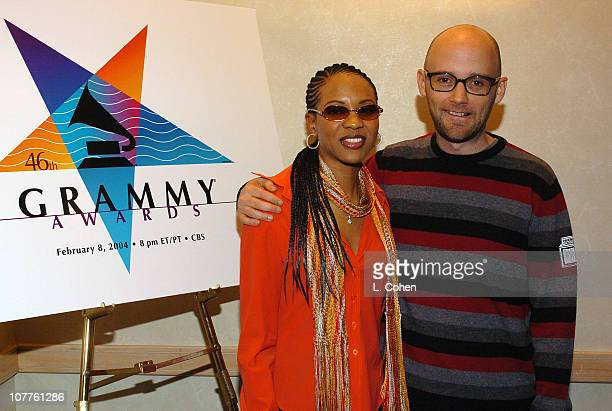 MC Lyte and Moby during 46th Grammy Awards Nominations Green Room at Beverly Hilton in Beverly Hills California United States