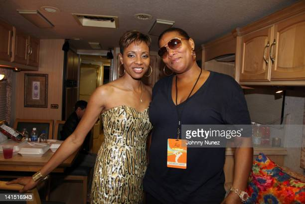MC Lyte and Queen Latifah attend Jazz In The Gardens at Sunlife Stadium on March 17 2012 in Miami Florida