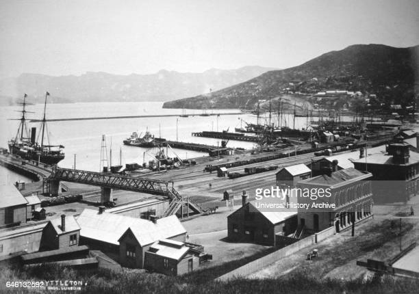 Lyttelton Harbour is one of two major inlets in Banks Peninsula on the coast of Canterbury New Zealand 1880