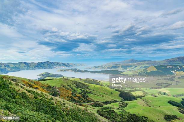 lyttelton view christchurch new zealand - canterbury region new zealand stock pictures, royalty-free photos & images