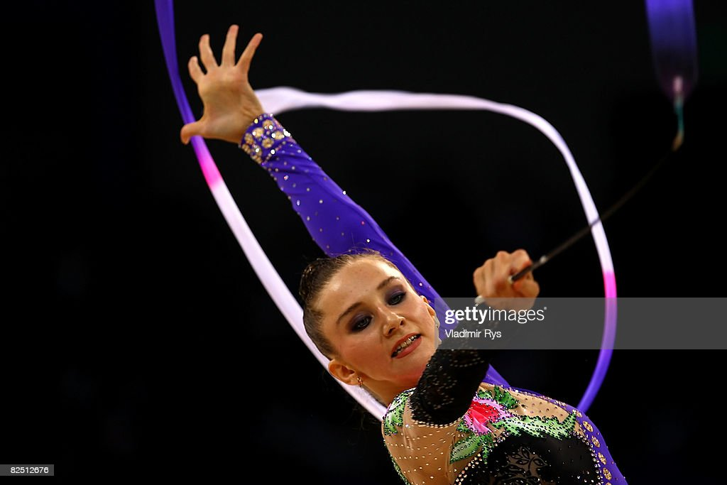 Lyubov Cherkashina of Belarus competes in the Individual All-Around Qualification round at the Beijing University of Technology Gymnasium on Day 14 of the Beijing 2008 Olympic Games on August 22, 2008 in Beijing, China.