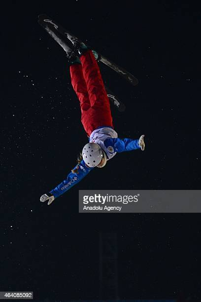 Lyubov Nikitina of Russia in action during the Women's Aerials competition at the FIS Freestyle Ski World Cup 2015 in Moscow Russia on 21 February...