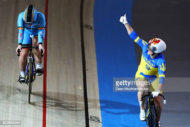 Lyubov Shulika of Ukraine celebrates victory after she competes in the Women's Keirin Final during the Tissot UCI Track Cycling World Cup 20162017...