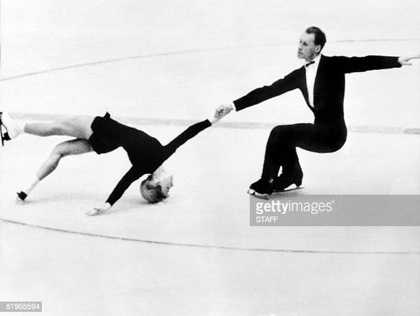 Lyudmila Belousova and her partner Oleg Protopopov from the Soviet Union execute their program during the pairs skating competition 29 January 1964...
