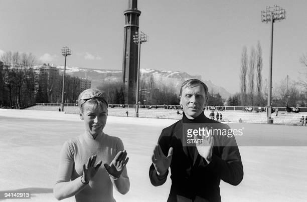 Lyudmila Belousova and her partner Oleg Protopopov from the Soviet Union joke in front of photographers February 1968 in Innsbruck The Soviet couple...