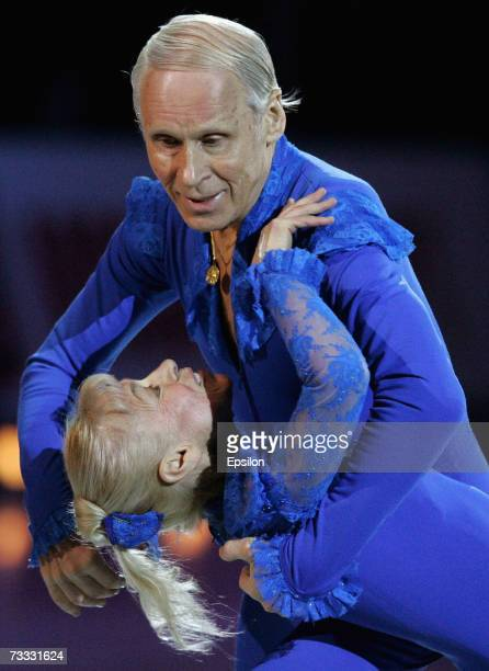 Lyudmila Belousova and her partner Oleg Protopopov perform during the gala figure skating show Ice Symphony on February 13 2007 in Moscow Russia