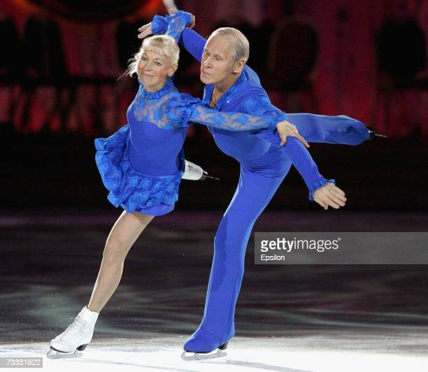 Lyudmila Belousova and her partner Oleg Protopopov perform together during the gala figure skating show Ice Symphony on February 13 2007 in Moscow...