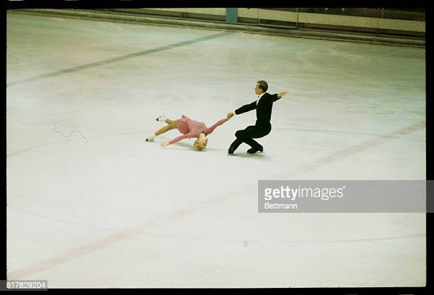 Lyudmila Belousova and Oleg Protopopov of Russia are shown skating in the 1968 Winter Olympics to capture the Gold medal in the Pairs Free Skating...