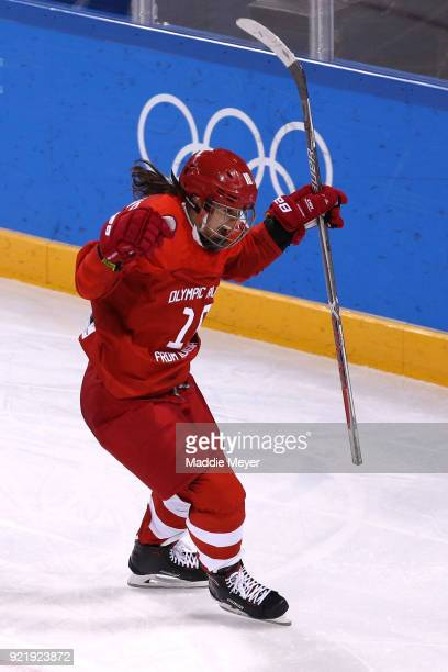 Lyudmila Belyakova of Olympic Athlete from Russia celebrates scoring a goal in the third period against Finland during the Women's Ice Hockey Bronze...