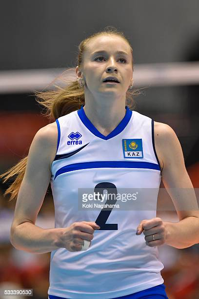 Lyudmila Issayeva of Kazakhstan looks on during the Women's World Olympic Qualification game between Italy and Kazakhstan at Tokyo Metropolitan...