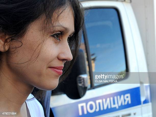 Lyudmila Savchuk answers journalist's questions as she leaves a court building after a hearing in St Petersburg on July 2 2015 A court in Russia's...