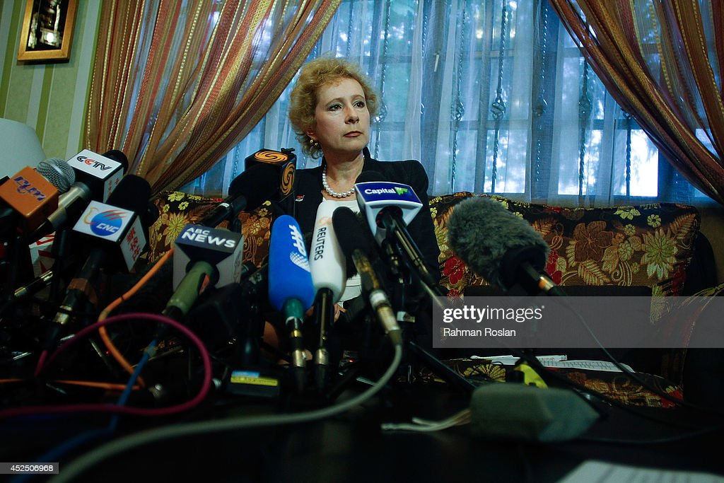Lyudmila Vorobyeva, Russian ambassador to Malaysia listens to a reporter after a press conference on July 22, 2014 in Kuala Lumpur, Malaysia. Malaysia Airlines flight MH17 was travelling from Amsterdam to Kuala Lumpur when it crashed killing all 298 on board including 80 children. The aircraft was allegedly shot down by a missile and investigations continue over the perpetrators of the attack.