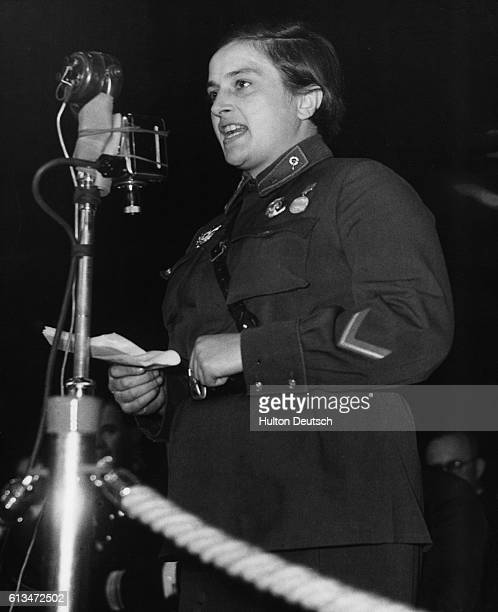 Lyudmilla Pavlichenko, a Soviet lieutenant, addresses an audience at Earl's Court, in London, during celebrations to mark the 25th anniversary of the...