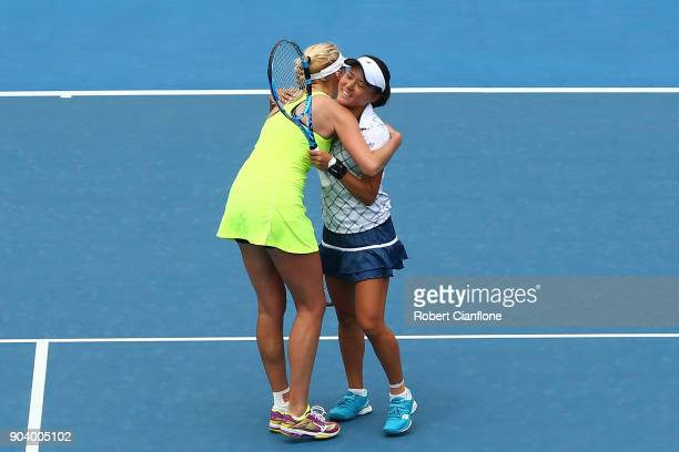 Lyudmyla Kichenok of the Ukraine and Makoto Ninomiya of Japan celebrate after winning their semi finals doubles match againsts Alison Bai of...