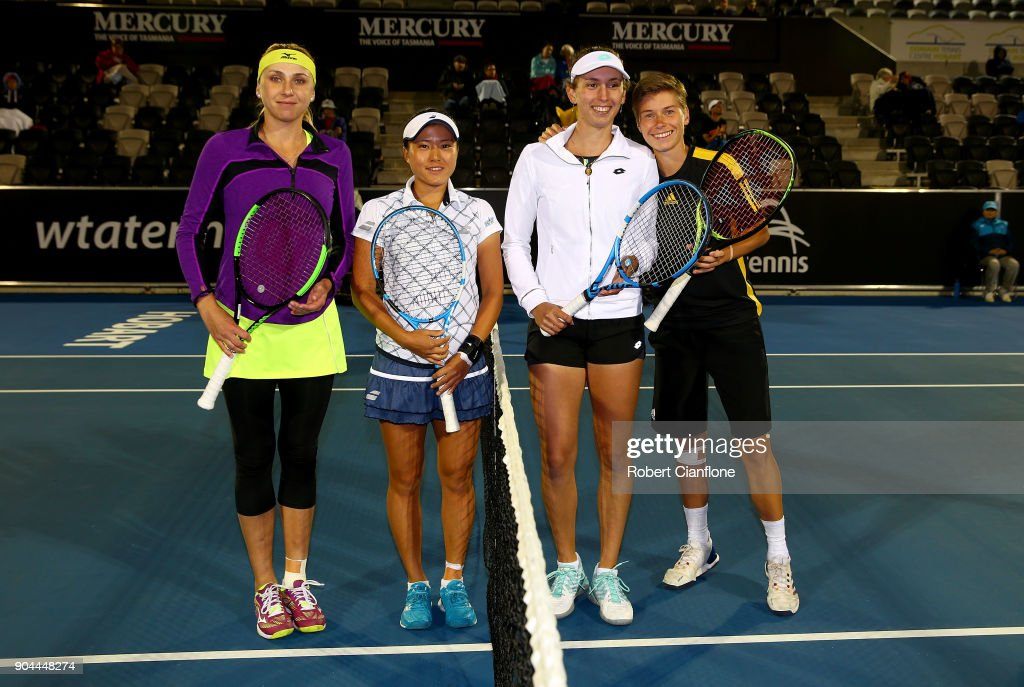 Lyudmyla Kichenok of the Ukraine and Makoto Ninomiya of Japan pose prior to the doubles final againsts Elise Mertens of Belgium and Demi Schuurs of the Netherlands at the 2018 Hobart International at Domain Tennis Centre on January 13, 2018 in Hobart, Australia.